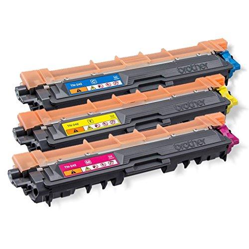 Original Brother Toner Rainbow Set ( TN-242C TN-242M TN-242Y Tonerkit ) für Brother DCP-9017CDW 9022CDW HL-3152CDW 3172CDW 3142CW MFC-9142CDN 9332CDW 9342CDW - TN242 TN-242 3x Toner Kit Bulk / MultipackTonerset Neutrale Verpackung - Intuiflex