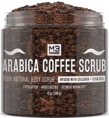 M3 Naturals Arabica Coffee Scrub infused with Collagen and Stem Cell All Natural Body and Face Exfoliating Stretch Marks Spider Veins Acne Scars Anti Cellulite Exfoliator Wrinkles Skin Care