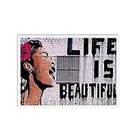Suuyar バンクシーグラフィティキャンバスアートプリント絵画ウォールアートポスター装飾写真リビングルームウォールアートホームデコラティブ-60X80Cmフレームなし