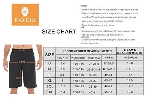 PIQIDIG Mens Shorts Casual Workout Athletic Basketball Running Golf Shorts Gym Shorts with Pockets