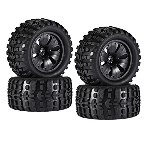 SM SunniMix 4 Piezas 1/10 RC Monster Truck Wheels Neumáticos con Borde para HPI, Savage, XS, TM Flux, MT, ZD Racing, LRP