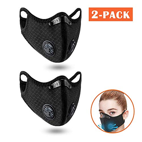 2pack Outdoor Sport M. Reusable Activated Carbon Dustproof Respirator Respirator Activated Carbon Anti Cold Sports Filter Bicycle Mountain Bike Riding(2Pack)