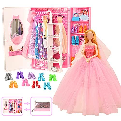 Miunana 39 Kleiderschrank Kleidung Schmuck Zubehör für Puppen = 1 Schrank + 11 Kleider + 5 Schuhe + 10 Kleiderbügel + 6 Halsketten + 6 Krone