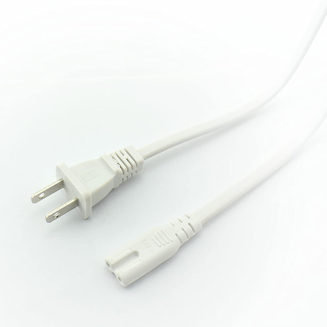 Longdex 2-Pack US AC Power Cord 2 Prong Plug Figure 8 Type Port Cable Adapter Non-Polarized 1.8m Power Extension Line White