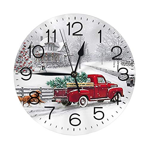 N/W Christmas is Coming Wall Clock 10'' Round,- Battery Operated Wall Clock Clocks for Home Decor Living Room Kitchen Bedroom Office