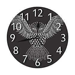 IBILIU Zentangle White Owl Wall Clock,Flying Night Bird Forest Animal Black White Silent Non-Ticking Round Wall Clock Battery Operated for Home Office Decorative Clock Art