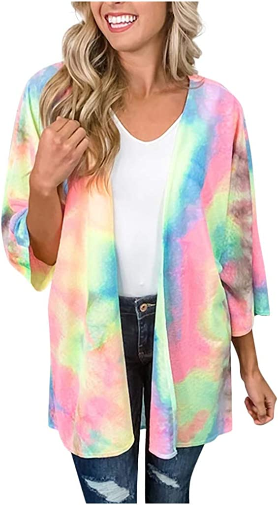 Women's Floral Print Kimono Chiffon Cardigan Open Front Casual Loose Tassel Smock Cover Up Blouse Tops