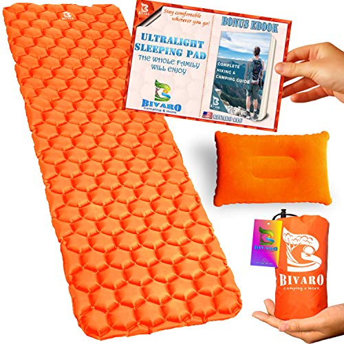 BIVARO Ultralight Sleeping Pad for Backpacking - Travel and Hiking + Lightweight Pillow + Ebook • Complete Bundle. Waterproof Camping Mattress,Best for Sleeping Bag,Hammock and Tent (Orange)