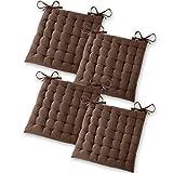 Gräfenstayn® Set de 4 Cojines, Cojines para Silla de 40 x 40 x 5 cm para Interior y Exterior de 100% algodón Acolchado Grueso/cojín para el Suelo (Marrón)