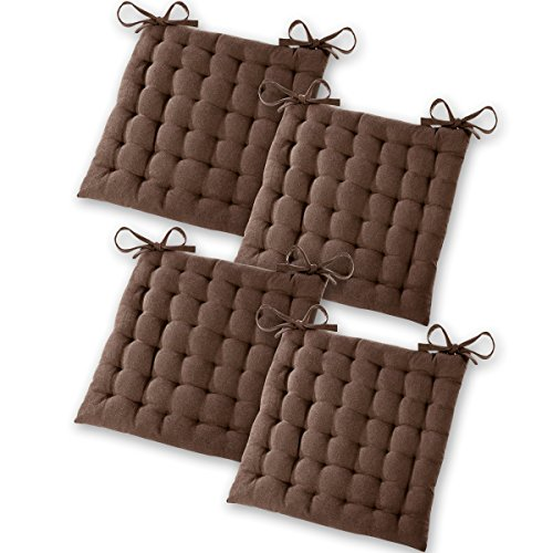 Gräfenstayn Set de 4 Cojines, Cojines para Silla de 40 x 40 x 5 cm para Interior y Exterior de 100% algodón Acolchado Grueso/cojín para el Suelo (Marrón)