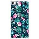 dakanna Funda Compatible con [Bq Aquaris M5.5 - M 2017] de Silicona Flexible, Dibujo Diseño [Flores Tropicales], Color [Borde Transparente] Carcasa Case Cover de Gel TPU para Smartphone
