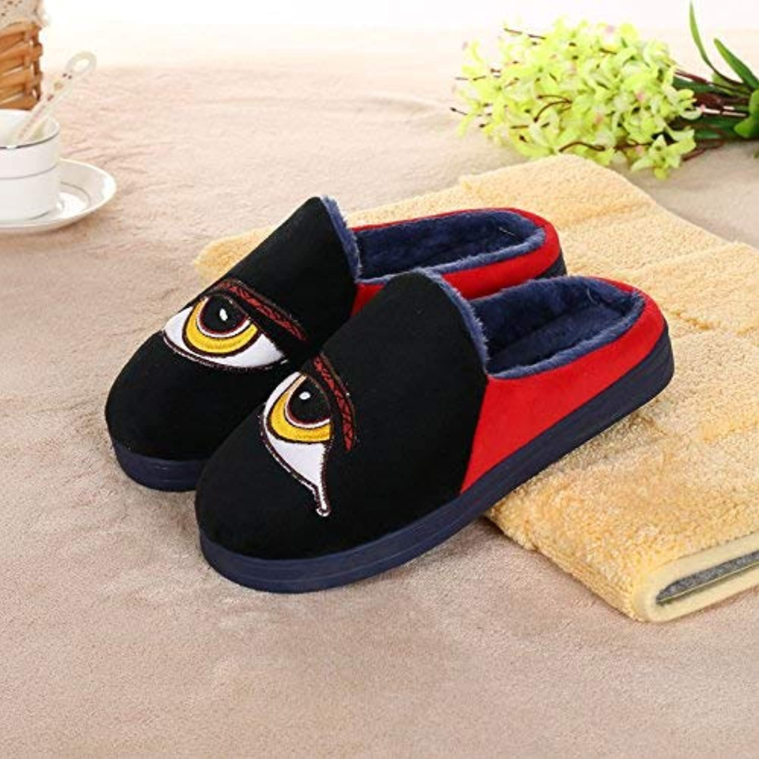 JaHGDU Casual Fall and Winter Warm Cotton Slippers Men Slippers Black bluee Mixed color Personality Quality for Men