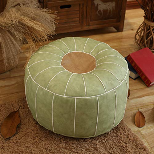 Chair cushion Leder Marokkanischer Pouf,Handmade Gefüllte Bestickt Hocker Hocker Wohnkultur Runde Boden Kissen Für Wohnzimmer Café-grün 60x60x30cm(24x24x12inch)