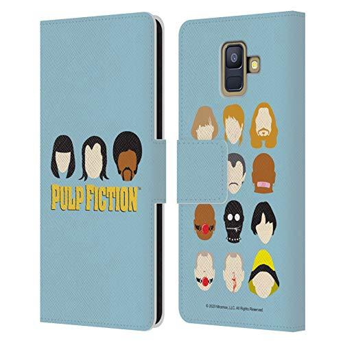 Head Case Designs Licenza Ufficiale Pulp Fiction Facce Arte Cover in Pelle a Portafoglio Compatibile con Samsung Galaxy A6 (2018)