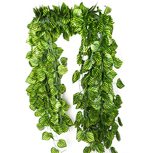 Fake Vines Ivy Leaves Garland 12 Strands-85Ft Artificial Plants Greenery Garland Faux Green Hanging Plant Flowers Vine for Wall Party Wedding Room Home Kitchen Decor