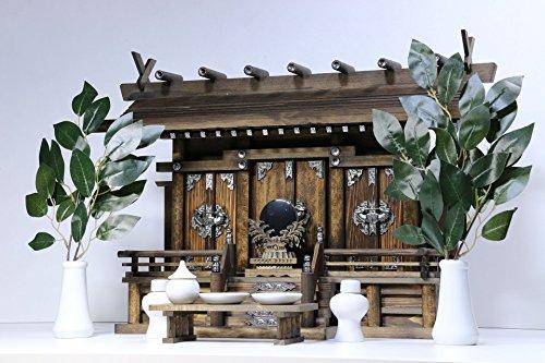 三社■ モダン神棚 ■月夜見の宮■家具調 通し屋根三社 神具付き 神棚セット (黒檀×銀色金具)