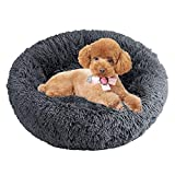 Calming Cat Bed Soft Fluffy Dog Bed Dog Basket Round Cat Plush Donut Cuddle Bed Beans Bag Bed Pet Nest Pet Sofa Bed Sleeping Bed Cushion Mat For Small Dogs Chihuahua Bunny Non-Slip Bottom Washable