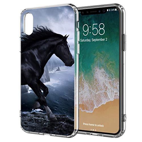 blitzversand Handyhülle Sunset Horse kompatibel für Huawei Y6 2018 Pferd Küste schwarz Meer Schutz Hülle Case Bumper transparent M2