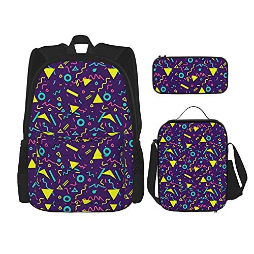 Mochila de estilo geométrico de los años 80 para niños, bolsa de almuerzo con estuche para lápices, conjunto de bolsa de escuela 3 en 1