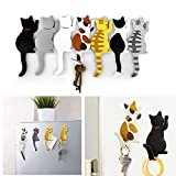 Comidox Cute Multifunction Cat Magnetic Refrigerator Sticker Fridge Magnet Hanging Hook 2 in 1 Gray cat/Black white cat/Yellow striped cat/Gray Yellow striped cat 4pcs