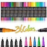 Rotuladores de pincel de doble punta, juego de 36 marcadores de arte de color, 72 puntas finas y punta de pincel para niños, adultos, libro para colorear, toma de notas, mano, bala, diario, letras