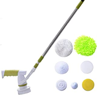 CWH&WEN Electric Spin Scrubber, Power Cleaning Brush Extendable Clean Tool with 7 Replaceable Brush Heads for Scrubbing Floor Bathroom Wall Toilet Bathtub Swimming Pool Tire Etc