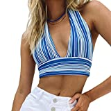 Beumissy Womens Y2K Knit Crop Top Sexy Halter Top Deep V-Neck Backless Sleeveless Stripes Cami Tank Top(Blue,S)