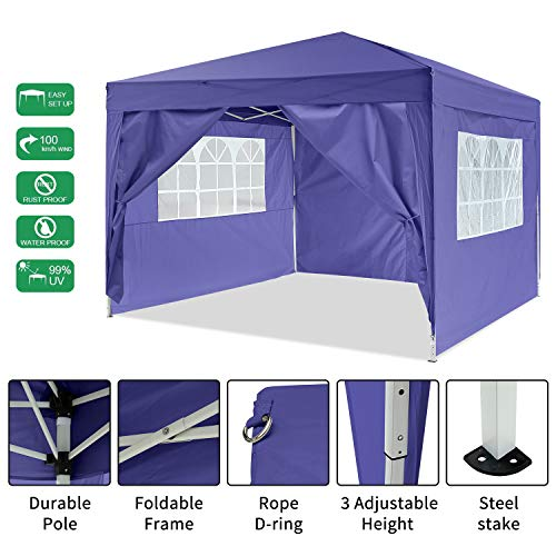 Oppikle 3x3m/3x6m Gazebo, Waterproof Garden Gazebo with 4 Side Panels, Adjustable Marquee Tent with Carry Bag,Powder Coated Steel Frame for Beach/Instant Shelter/Flea Market/Camping/Wedding