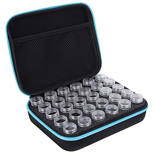 Nicoone Caja de almacenamiento, divisor especial con 30 ranuras empaquetadas para pintura de medicina transparente, caja de aceite esencial para almacenar diamantes, pendientes, anillos