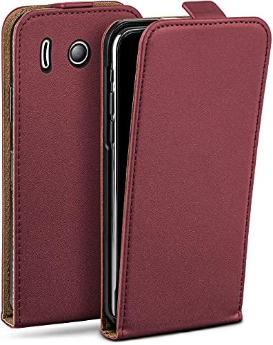 moex Flip Hülle für Huawei Ascend Y300 - Hülle klappbar, 360 Grad Klapphülle aus Vegan Leder, Handytasche mit vertikaler Klappe, magnetisch - Weinrot