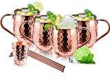 Moscow Mule Copper Mugs, Moscow Mule Cups Set of 4 HandCrafted Food Safe Copper Moscow Mule Mugs 16...