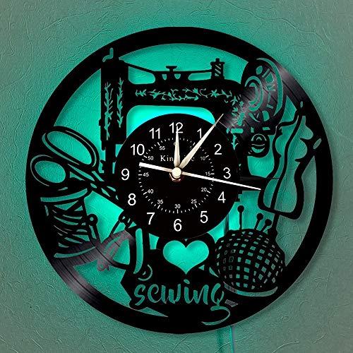 LED-Sewing design clock 12-inch vinyl record wall clock | Modern decoration for tailor shop | Wall clock with 7 lighting colors of chandelier.