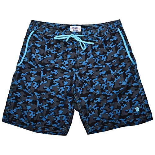 Beach Bros. Men's Swim Trunks - Quick Dry Bathing Suit w/Elastic Waistband & Pockets - Camo Blue, Medium (Waist: 31'-33')