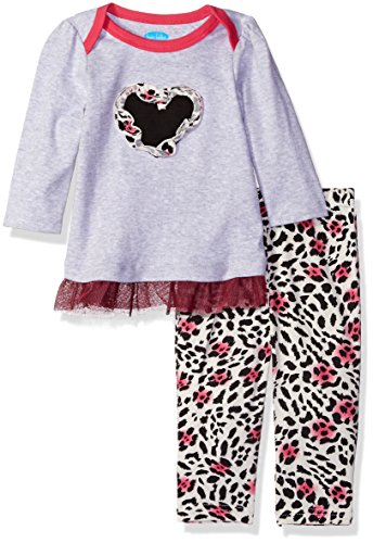 Bon Bebe Baby Girls' 2 Piece Dress Set with Lap Shoulder Opening and Yummy Leggings, Cheetah Heart, 12 Months
