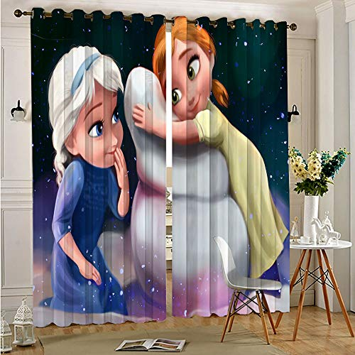 Petpany Elsa movie Frozen Bedroom Curtains Blackout Draperies Thermal Insulating Window Curtains Panels Drapes for Adults Kids Bedroom Living Room 55'x63'