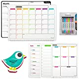 AFAN Dry Erase Calendar Set of 5 Magnetic Calendars Whiteboard For Refrigerator Monthly Weekly Organization Schedule& Including 6 Markers And 1 Eraser& Suitable For Home School And Office