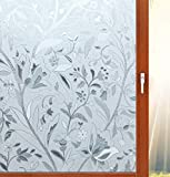 Aibily Beautiful Flower Window Film Privacy Window Cling,Etched Glass Vinyl Film for Bathroom/Kitchen/Home Window Decor,Static Cling Film No Glue Needed,Heat/Glare Control(35.4x196.8In.)