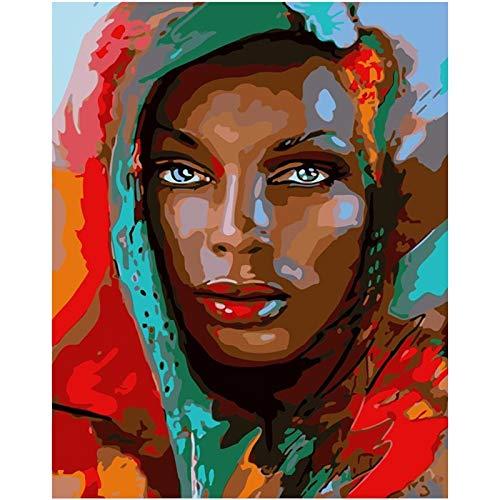 mlpnko Schal Schleier Frau Figur Digitale Malerei Kunst Leinwand einzigartige Geschenk Hauptdekoration 40X50cm Rahmenlos