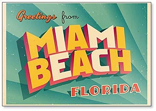 Kühlschrankmagnet, Vintage-Stil, Touristische Illustration von Miami Beach, Florida