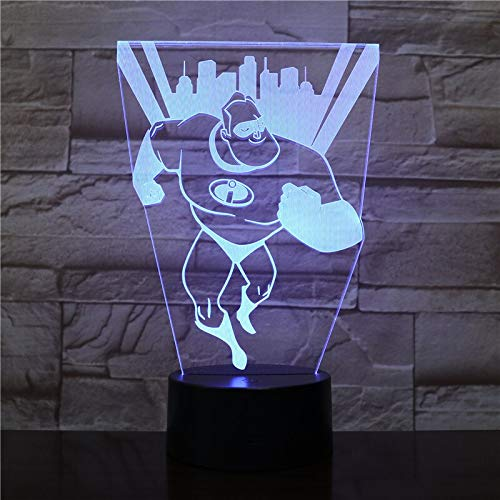 Les Indestructibles USB 3D LED Veilleuse M. Incroyable Bob Parr Figure Décoration Garçons Enfant Enfants Bébé Cadeaux Lampe De Table Lit