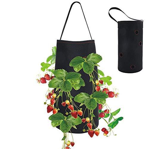 Longsing Bolsas para Plantar Fresas Bolsa de Cultivo de Macetas con Fresas Colgantes de Fieltro para Plantas de Jardín Hierbas Flores 38 * 22 cm