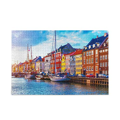 Sunset View Nyhavn Jigsaw Puzzle 1000 Pieces Copenhagen Old Building Images DIY Wall Art Intellectual Decompressing Fun Game for Adults Teens