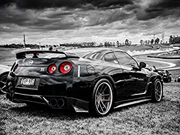 Gryposaurus Nissan Skyline GT-R R35 Black and White Car Auto Poster 18 × 24 Inches