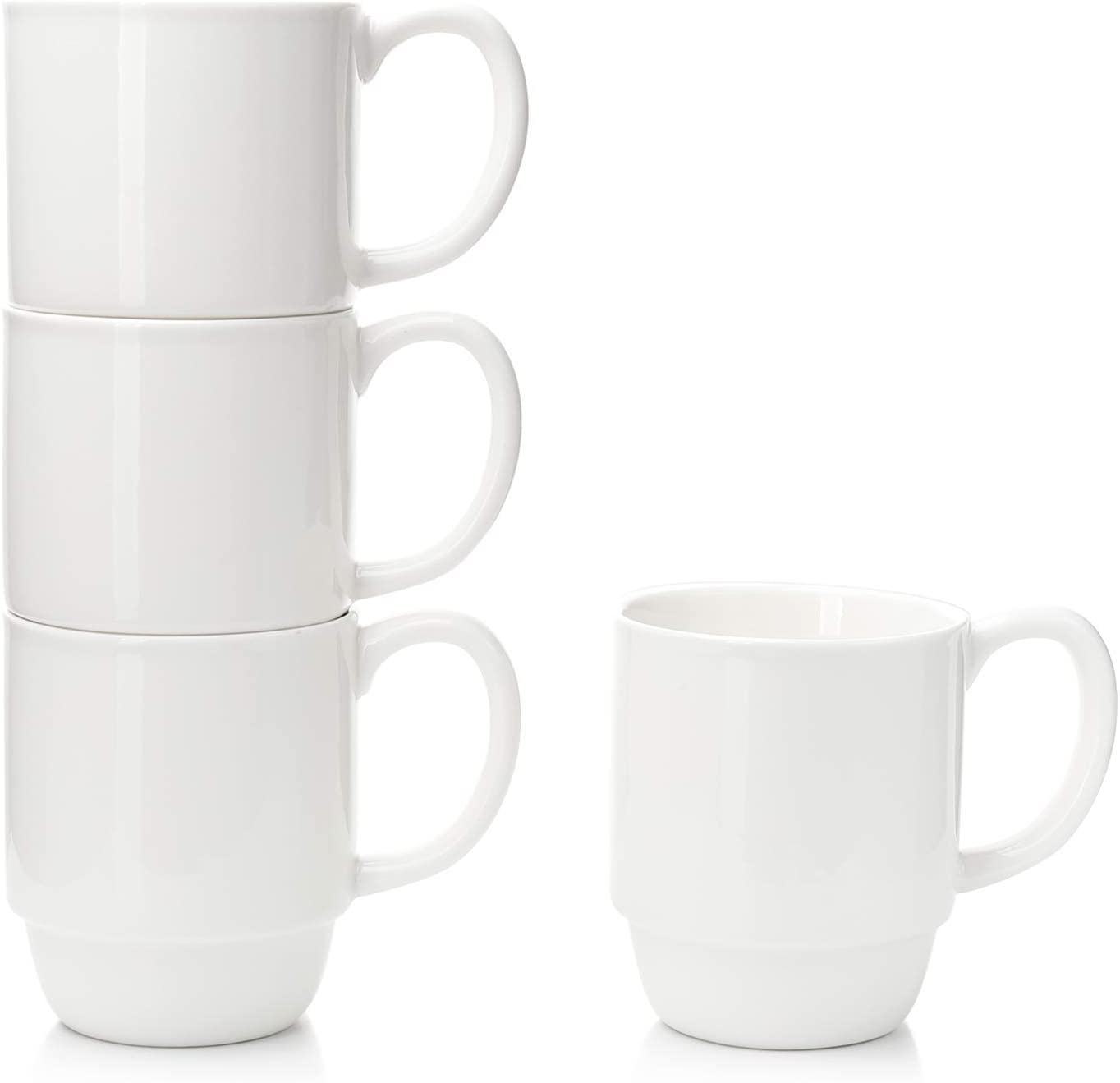 Porcelain Stackable Coffee Mugs Set of 4 - 16 Ounce Cups with Handle for Hot or Cold Drinks like Cocoa, Milk, Tea or Water - Smooth Ceramic with Modern Design, White