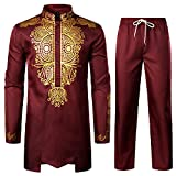 LucMatton Men's African 2 Piece Set Long Sleeve Gold Print Dashiki and Pants Outfit Traditional Suit Burgundy XX-Large