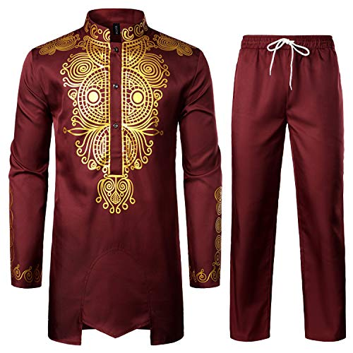 LucMatton Men's African 2 Piece Set Long Sleeve Gold Print Dashiki and Pants Outfit Traditional Suit Burgundy X-Large