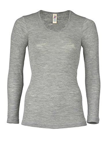 Engel Natur, Damen Unterhemd langarm, (42/44, Hellgrau melange)