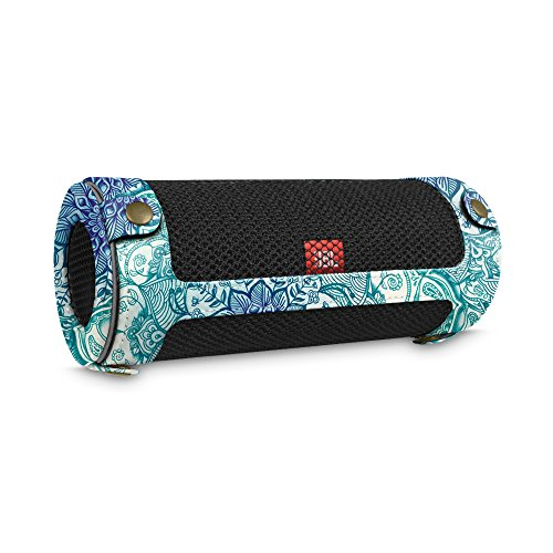 Fintie JBL Flip 4 draagbare luidsprekerhoes, afdekking, hoogwaardig kunstleer, beschermhoes, tas, case met karabijnhaak voor JBL Flip4, draagbare luidspreker, zwart Z-maragdblauw