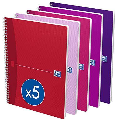 OXFORD Lot de 5 Cahiers My Style A4 Petits Carreaux 5mm 100 Pages Reliure Intégrale Couverture Carte Coloris Assortis