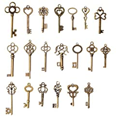 Material:Metal alloy Quantity:mixed 20 pcs Smallest Key Size :20X38mm, Biggest Key Size:21X68mm Color: Antique Bronze / Brass finish Perfect for use as necklace pendants, vintage wedding decor and escort cards, scrap booking, and other crafts.
